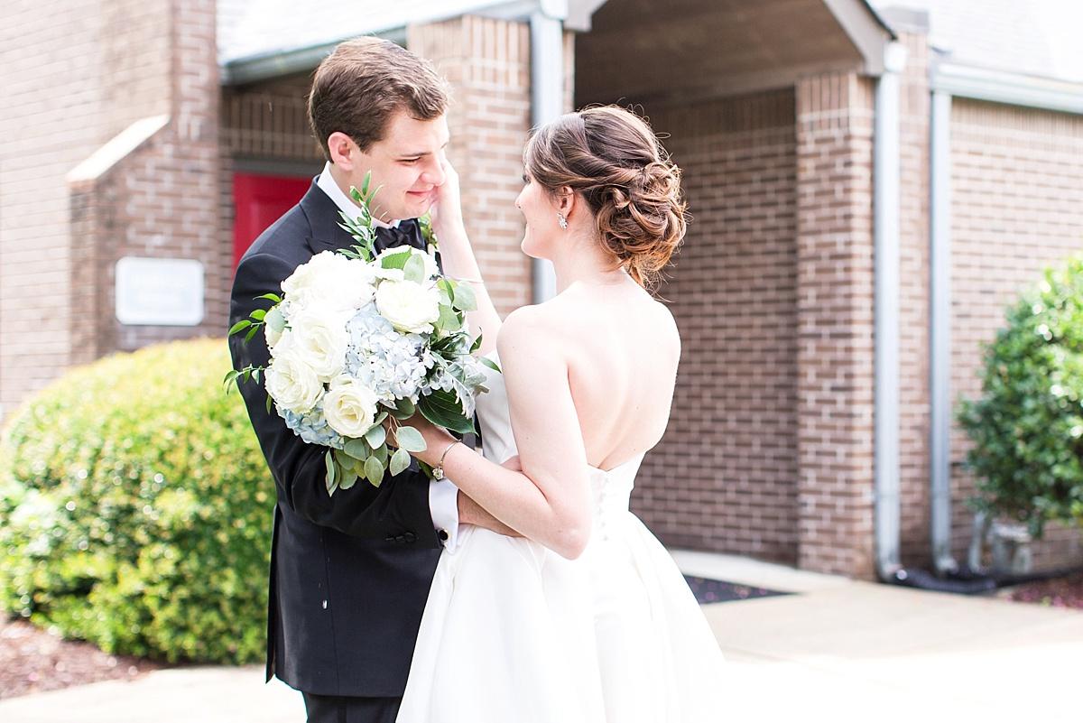 Sweet Bride and Groom First Look